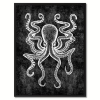 Octopus Black Canvas Print, Picture Frames Home Decor Wall Art Gifts
