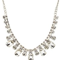 Silver Rhinestone Statement Collar Necklace by Charlotte Russe