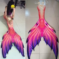 Customize different styles Mermaid Tail Costumes,3pcs Girls Swimming  Big Mermaid Tail With Monofin Adult Kids Swimmable Cosplay