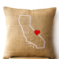 Map Pillow- Burlap pillow covers with State Map- California Pillow-14x14 inches- Small Pillow- Hessian Cushion- Chair Pillow- Gift Pillow