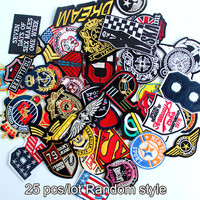 25pcs assorted Motif patch embroidered badge patches sew on iron on clothes