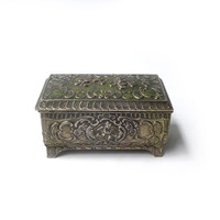 Vintage mid century small silver plate filigree trinket jewellery box