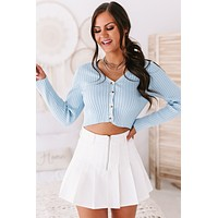 Better Than Ever Ribbed Button Down Top (Baby Blue)