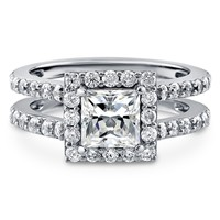 Sterling Silver Princess Cubic Zirconia CZ Halo Ring 2.04 ct.twBe the first to write a reviewSKU# R953-01
