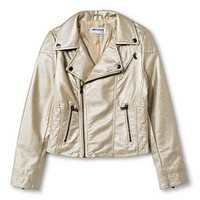 CoffeeShop Kids Girls' Pearlized Faux Leather Moto Jacket - Gold : Target