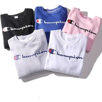 """Champion"" Couple Casual Letter Print Solid Color Pullover Top Sweater Sweatshirt"