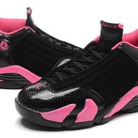 Hot Air Jordan 14 Retro Women Shoes Black Pink Store
