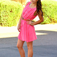 PRETTY PLEATS BELTED DRESS IN CORAL