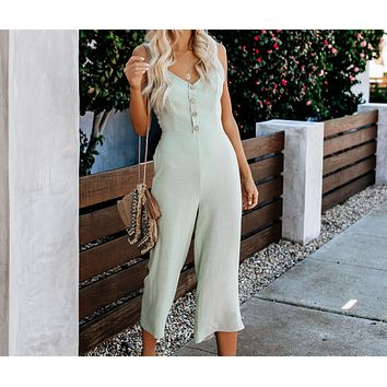 New summer fashion  women's casual button bow tie jumpsuit