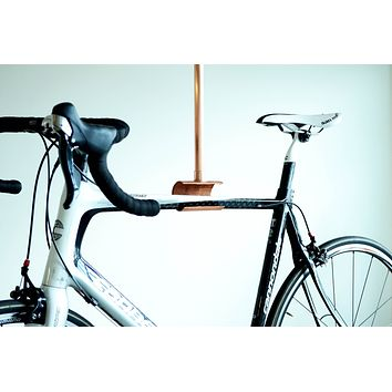 Bike Rack Bicycle Ceiling Display // Minimalist Modern Metal Leather Bicycle Hook Shelf -- Cycle Storage Biker Cyclist Gift