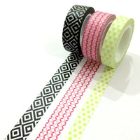 Washi tape set: Black geometrical diamond, lime polkadot and pink diamonds/ packaging/ gift wrapping/ scrapbooking