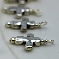 Silver Hammered Cross Bead Dangle Charm Drop Set