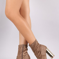 Suede Pointy Toe Metallic Chunky Heeled Ankle Boots