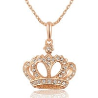 Crystals Necklace with Imperial Crown Pendant Rose Gold Plated + Gift Box