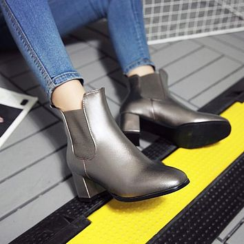 Square Toe Chunky Heel Women Ankle Boots 5537