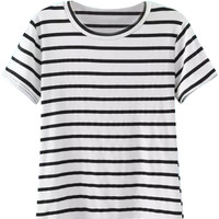 White Stripe Short Sleeves Tee