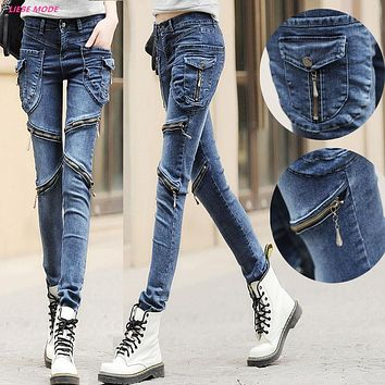 Women Zipper Biker Jeans Skinny Slim Fit Cargo Pocket Jeans Women Harem Style Pants Hip Hop Jeans Black Grey Blue