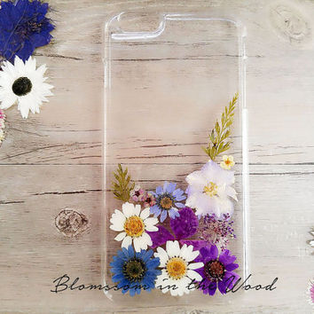 Purple Delight Pressed Flower iPhone 6 Case, iPhone 6s Case, iPhone 5 Case, Samsung Galaxy S5 Case, 6s Plus Case, Clear Pressed Flower Case