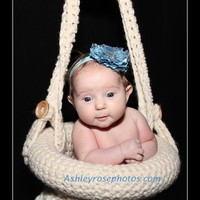 Hanging Basket Newborn Photography Prop Cream | ConniesCrochet - Children's on ArtFire
