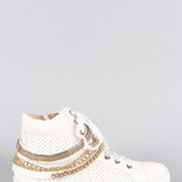 Women's Liliana Perforated Multiple Chains High Top Lace Up Sneaker