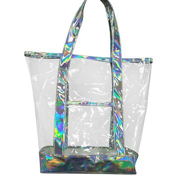 The new summer iridescent leather hand bag, Silver Grey iridescent Leather with clear transparent handbag, beach tote bag, sand shoulder shopping bags
