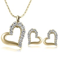 Double Heart Necklace and Earring Crystal Jewelry Sets