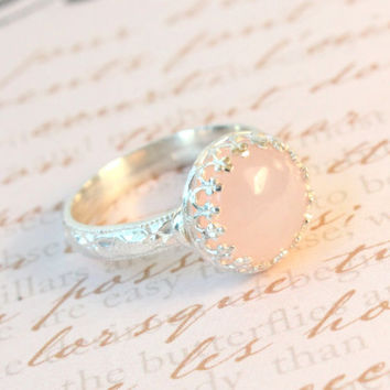 Rose quartz ring sterling silver 10 mm light pink gemstone floral band alternative engagement promise rings, crown setting, princess ring