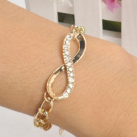 Charming Jewelry Chic Cute Gold Crystal Rhinestone Infinity Chain Bracelet