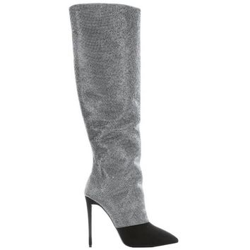 Giuseppe Zanotti Silver Studded Black Suede Two Tone High Heel Boots