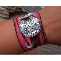 Live Laugh Love Silk Wrap Bracelet