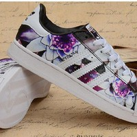 Adidas Superstar Fashion Women Flower Print Running Old Skool Sneakers Sport Shoes-1