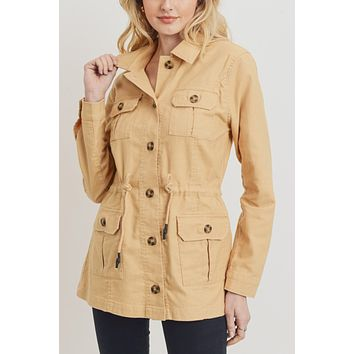 Cotton Blend Long Sleeve Anorak Cargo Pocket Jacket with Drawstring Waist