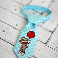 Little Guy Tie - Sock Monkey in Aqua Red - Infant through 8 years - Pre-Tied with Adjustable Velcro Closure