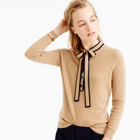Italian cashmere tie-neck sweater