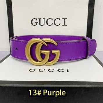Gucci Belt Fashionable Gucci Waistband 18 colors available LV Smooth Buckle  Leather Belt Purple