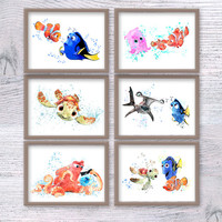 Finding Dory print Set of 6 posters Finding Dory watercolor prints Disney wall decor Baby shower gift Child room wall art Nursery decor V93