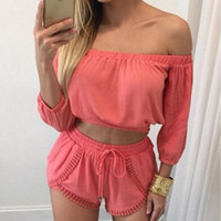 Plain Off Shoulder Chiffon Two Piece Dress