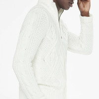 Cable Mock Neck Zip Cardigan from EXPRESS