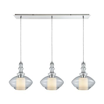 Alora 3-Light Linear Mini Pendant Fixture in Chrome with Clear and Opal White Glass