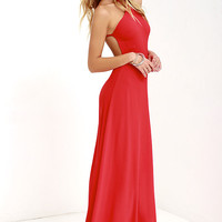 Pleasantly Surprised Red Backless Maxi Dress