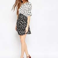 ASOS Mono Print Ditsy Skater Dress