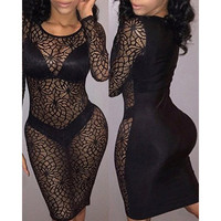 Scoop Neck Long Sleeve See-Through Hollow Out Dress