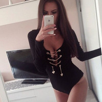 Sexy Women Jumpsuit Plunge V Neck Bandage Bodysuit Lace Up Tie Front Stretch Rompers Womens Jumpsuit Overalls