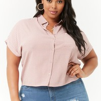 Plus Size Grid Print Boxy Shirt