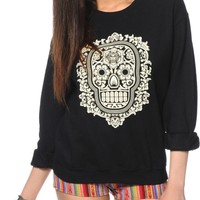 Obey Day Of The Dead Floral Black Crew Neck Sweatshirt