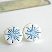 Ceramic Post Earrings Pottery White and Blue Shiny Studs