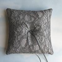 Silver grey wedding. Ring pillow. Ring cushion.