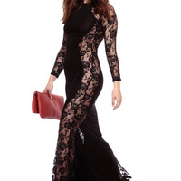 Black Mermaid Lace Maxi Dress