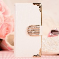 Shining Crystal Flip Wallet luxury PU leather case cover skin for iPhone 5 5G 5S-White
