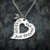 Couple's / Newlywed's Necklace - Two become one with wedding date - Stainless steel heart - Pearl charms